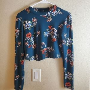 Rue 21 Floral Long Sleeve Boho Cropped Top